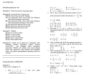 Soal spmb matematika 2006 dan jawabannya