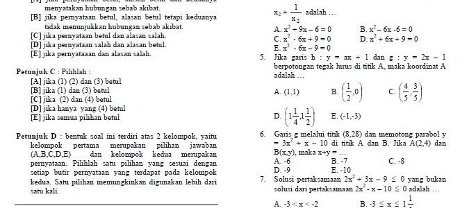 Soal SPMB Matematika 2006 dan Kunci Jawabannya