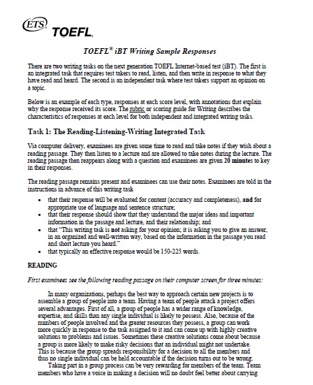 Toefl ibt writing sample responses soalujian net for Toefl writing template independent
