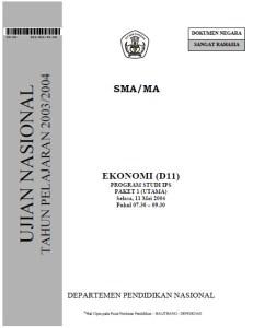 Soal Ujian Nasional ekonomi SMA IPS 2004