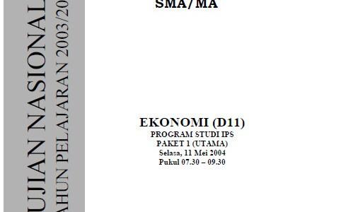 Soal Ujian Nasional UN SMA 2004