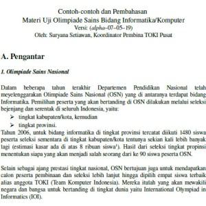 Contoh dan Pembahasan Materi Uji Olimpiade Sains Bidang Informatika