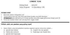 Soal Tryout UN SMA IPA