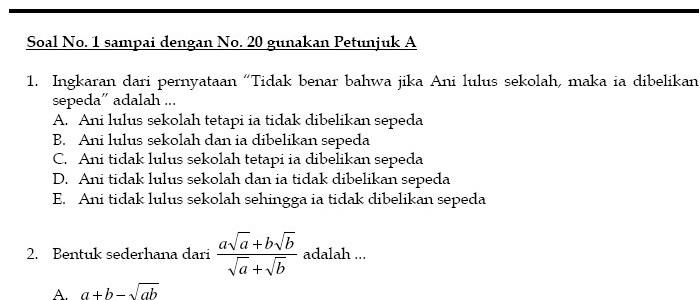 Soal Ujian Mandiri Universitas Diponegoro – UM Undip 2009