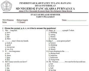 Soal Bahasa Inggris SD Kelas 4