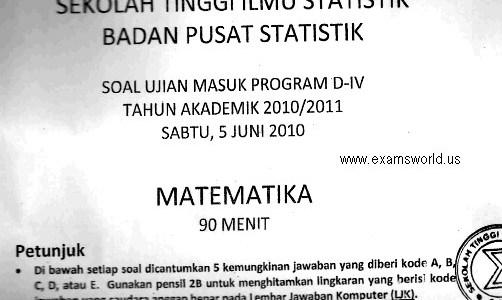 Soal Ujian Seleksi Masuk STIS 2007-2010 Matematika