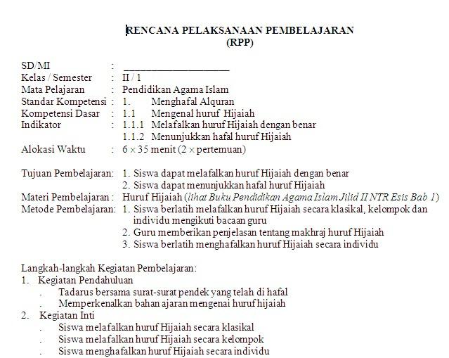 Rpp Pendidikan Agama Islam Sd Mi Kelas 1 6 Soalujian Net