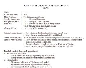 RPP Pendidikan Agama Islam SD/MI