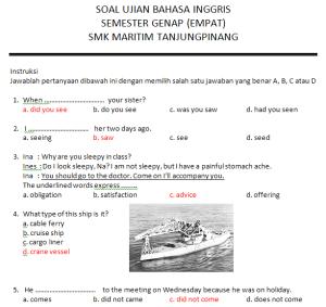 Soal Jawab Bahasa Inggris Smk Kelas 2 Smk Maritim Tanjung Pinang