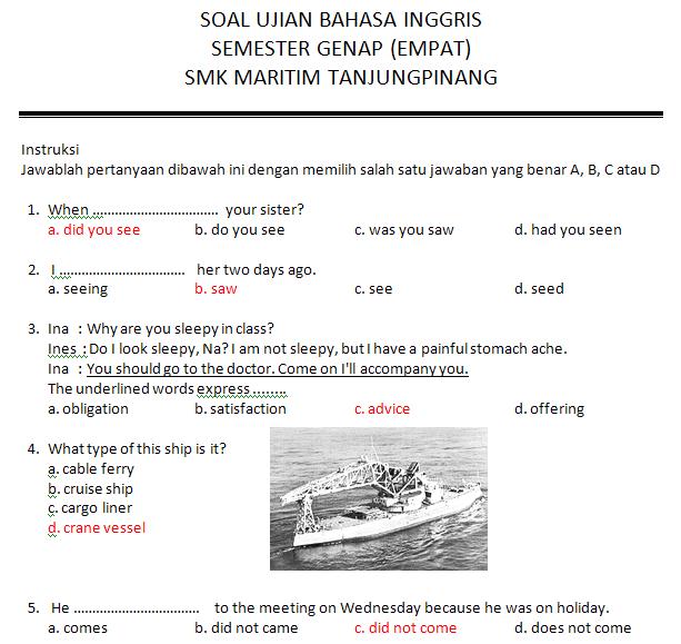 Contoh Soal Jawab Bahasa Inggris Kelas 2 Smk Bank Soal Ujian