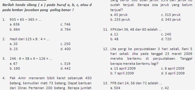 Soal Prediksi UASBN Matematika SD 2011