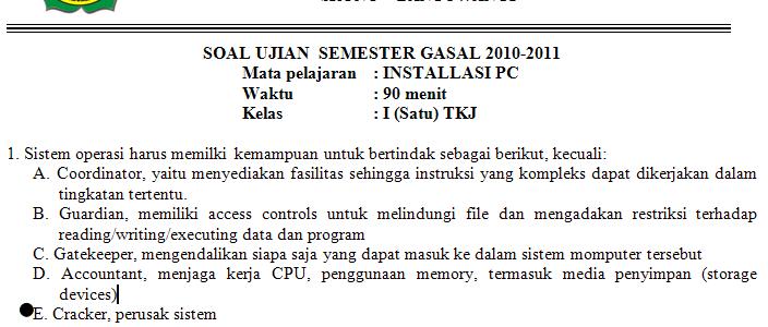 Soal Instalasi Komputer/PC untuk SMK TKJ Kelas 1