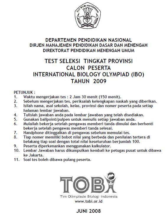 Soal Seleksi Ibo 2009 Tingkat Propinsi Bank Soal Ujian