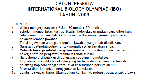 Soal Seleksi International Biology Olympiad 2009 Tingkat Propinsi