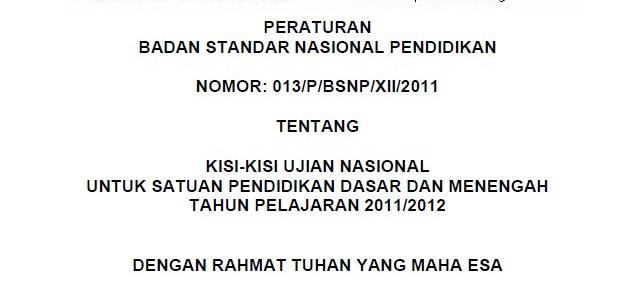 Kisi-Kisi Ujian Nasional SD, SMP, SMA/SMK 2012
