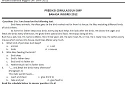 Soal Prediksi Ujian Nasional Bahasa Inggris SMP 2012