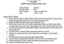Soal Ujian Nasional SMA 2011 + Kunci Jawaban