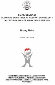 Soal Olimpiade Sains Kabupaten Kota OSK Fisika SMP 2013
