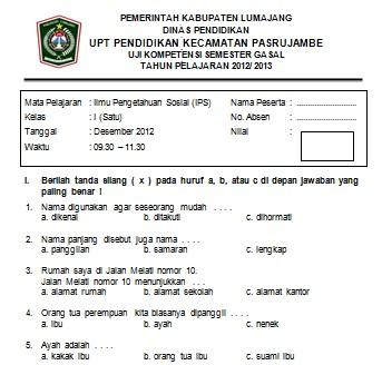 Soal Ujian Semester Ganjil Ips Sd Kelas 1 2012 Soalujian Net