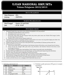 Soal dan Pembahasan UN IPA SMP 2013