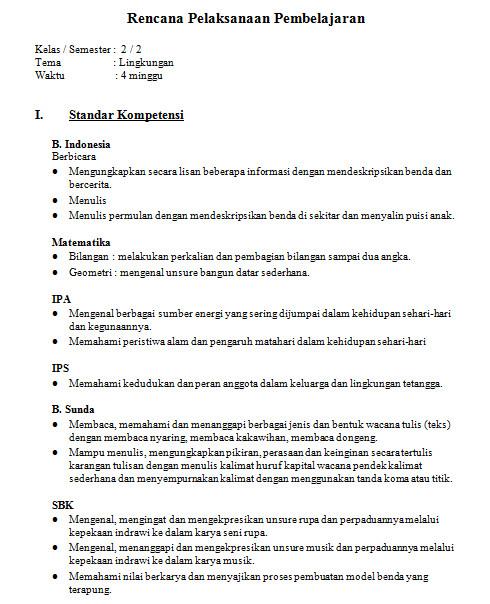 Contoh Rpp Tematik Kelas 2 Sd Tema Lingkungan Bank Soal Ujian