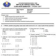 Contoh Soal UAS Matematika SMP Kelas 7 Semester 1