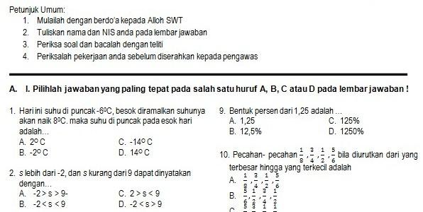 Kumpulan Soal UAS Matematika SMP Kelas 7 Semester 1