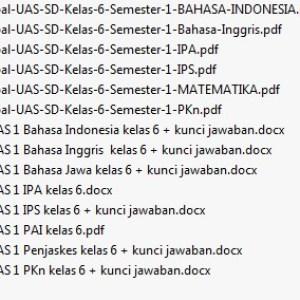 Kumpulan Soal UAS SD Kelas 6 Semester 1