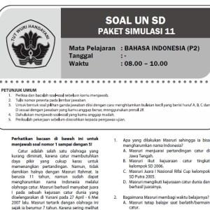 Soal Latihan Ujian Nasional SD MI Bahasa Indonesia