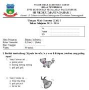 Soal UAS SD Kelas 1 Semester 1 Bahasa Indonesia