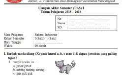 Soal UAS SD Kelas 1 Semester 1