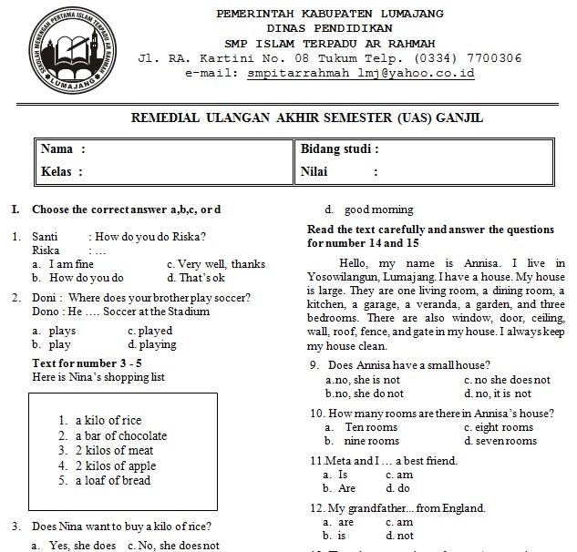 Soal Uas Bahasa Indonesia Kelas 7 Semester 1 Kurikulum 2013 Revisi 2016