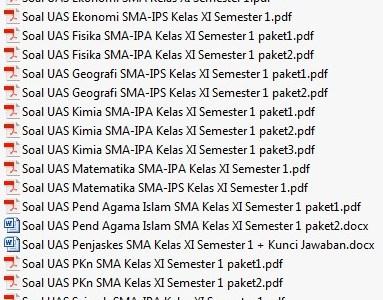 Paket Soal UAS SMA/MA Kelas 11 Semester 1 Lengkap