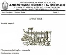 Soal UTS SD Kelas 2 Semester 2 Genap Bahasa Jawa