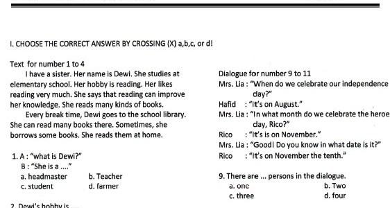 Soal UTS SD Kelas 4 Semester 2 (Genap)