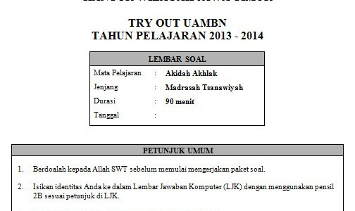 Soal Tryout UAMBN MTs beserta Kunci Jawaban (2 Paket)