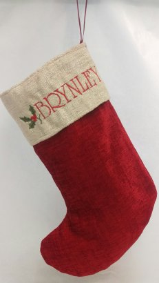 red and cream christmas stocking