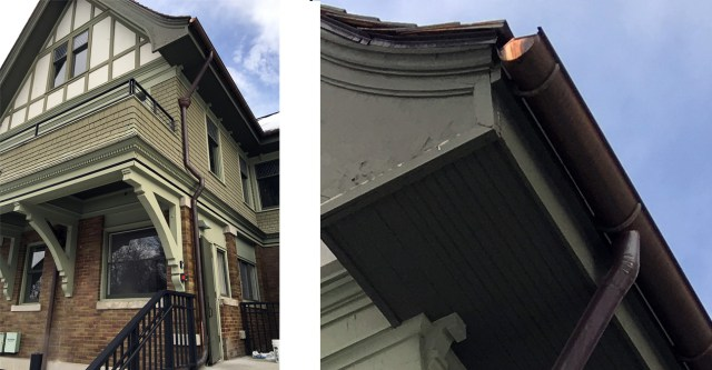 Half-round copper gutters with round downspouts.