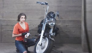 ciara gets her motorbike ready for a ride