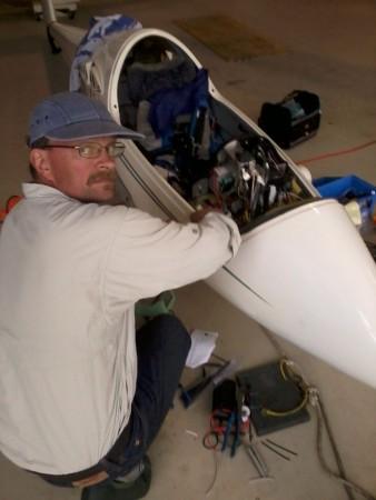 Evan Ludeman (T8) installing a 'brick' FLARM