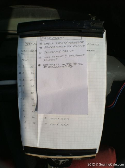 2012-05-25 - Concordia First Flight - Checklist for second test flight