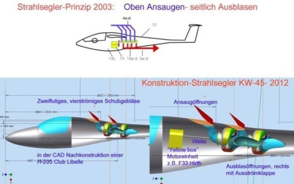 Fig 2 - Principal sketch 2003 and CAD fuselage installation study 2012