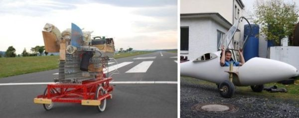 Figure 3 -Test-trolley 2008 in Günterrode airfield,  rolling wheels  for a Club-Libelle fuselage 2012  KW-45  in front of the Flugwissenschaftliche Fachgruppe Göttingen, FFG