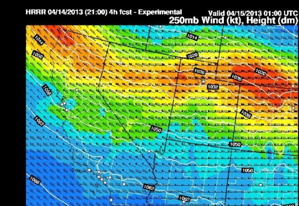End of Day Winds Aloft - 250mb