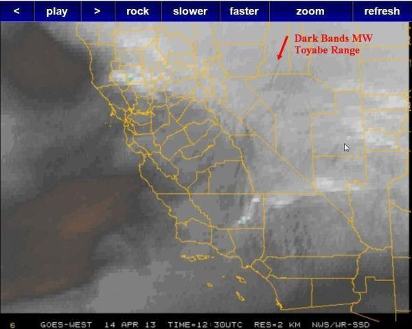 Water Vapor Imagery showing darkening bands indicating Mountain Wave (MW)
