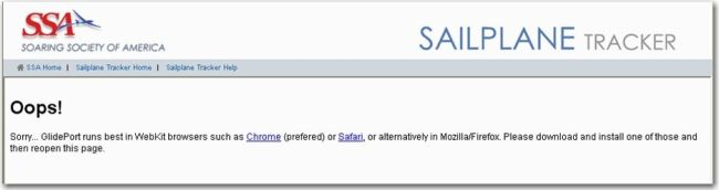 Figure 4: Live Tracking Site Internet Explorer Error