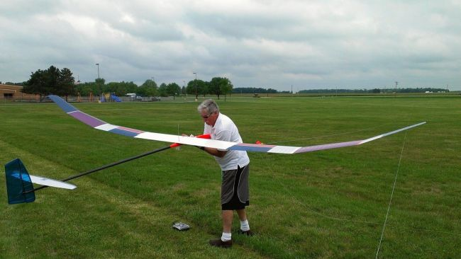 Peter with his RC glider. (Photo from his Facebook page)