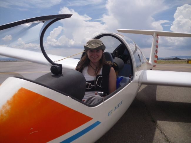 Heather, a US Air Force Academy Graduate from 2008 renews her glider knowledge