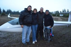 The team after the flight: Tago, Jackie, Jim and co pilot Juan Pagano