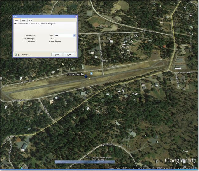 Brownsville Airstrip: Pavement way too narrow, but might work if overhang area is clear enough. Oroville (18 mi West and 2000' lower) might be a better bet.